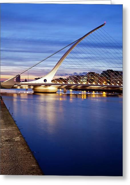 Samuel Beckett Bridge At Dusk, Liffey Greeting Card by Panoramic Images
