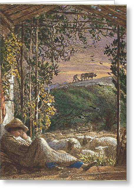 Samuel Palmer British, 1805 - 1881, The Sleeping Shepherd Greeting Card by Quint Lox