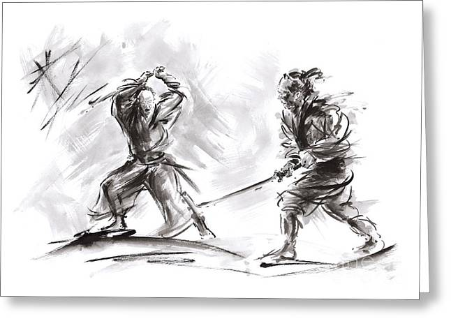 Samurai Fight. Greeting Card