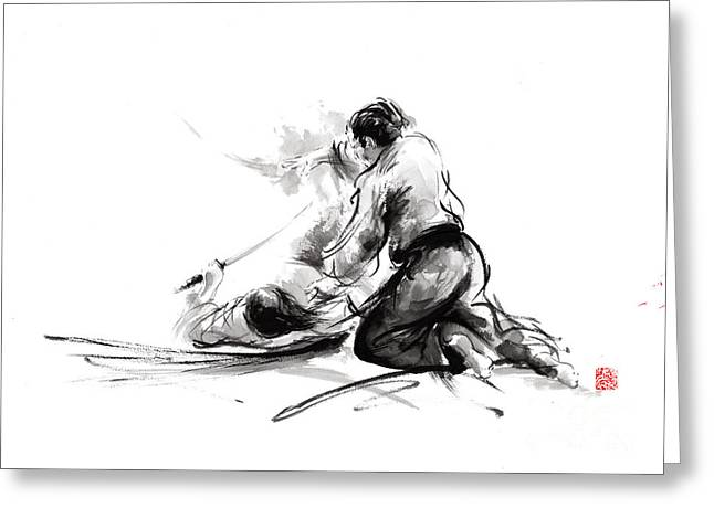 Samurai Sword Bushido Katana Martial Arts Budo Sumi-e Original Ink Painting Artwork Greeting Card by Mariusz Szmerdt