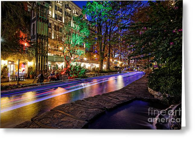 San Antonio Riverwalk Paseo Del Rio During Christmas - Texas Greeting Card