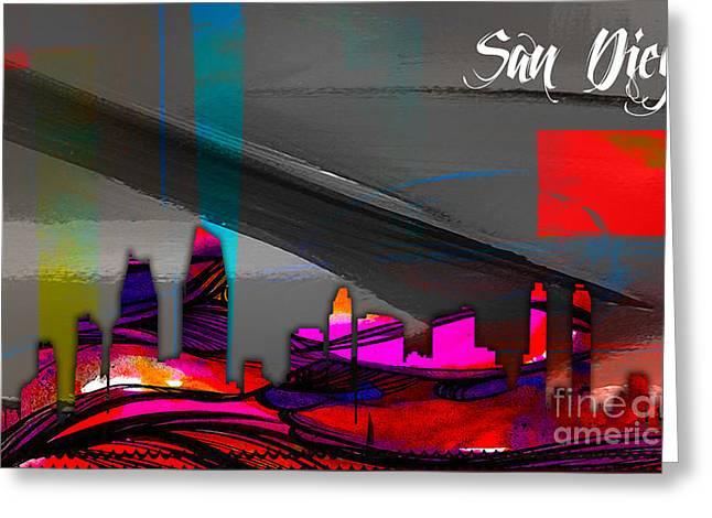 San Diego California Skyline Watercolor Greeting Card by Marvin Blaine