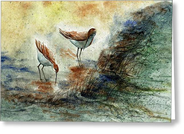 Sand Pipers Greeting Card by Steven Schultz