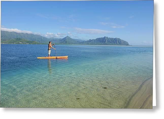 Sandbar, Kaneohe Bay, Oahu, Hawaii Greeting Card by Douglas Peebles
