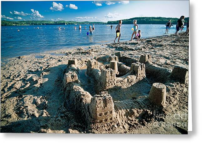 Sandcastle On The Beach Greeting Card by Amy Cicconi