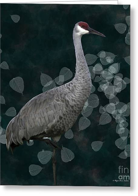 Sandhill Crane On Leaves Greeting Card