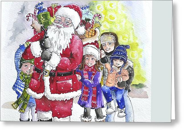Santa And Children Greeting Card