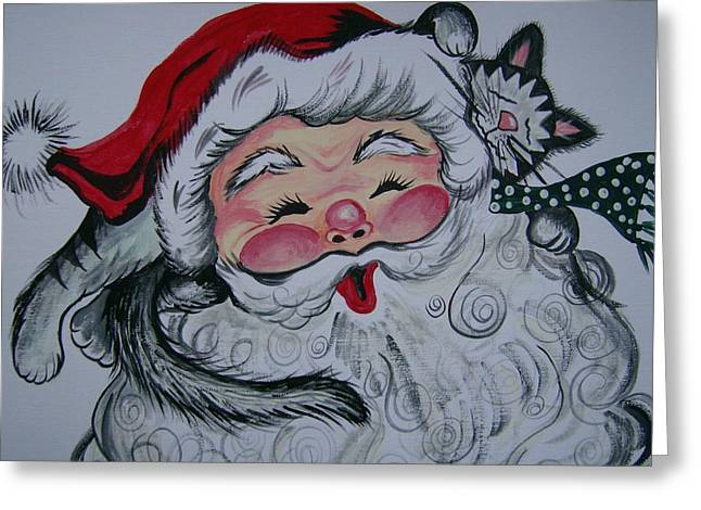 Greeting Card featuring the painting Santa And Company by Leslie Manley