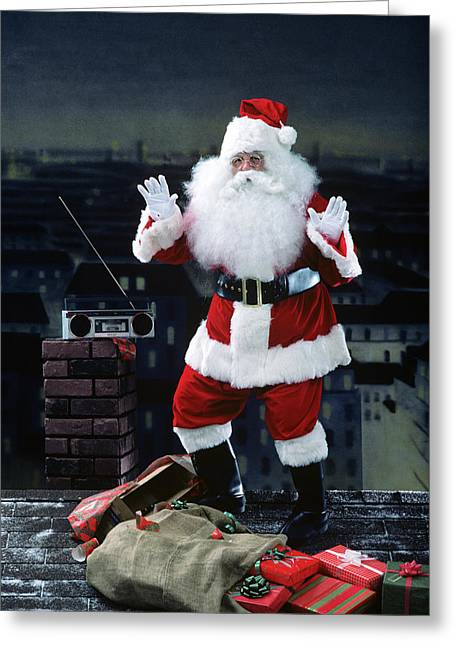 Santa Claus Dancing On A Rooftop Greeting Card
