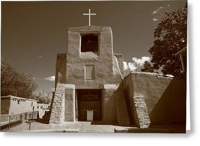 Santa Fe - San Miguel Chapel Greeting Card by Frank Romeo