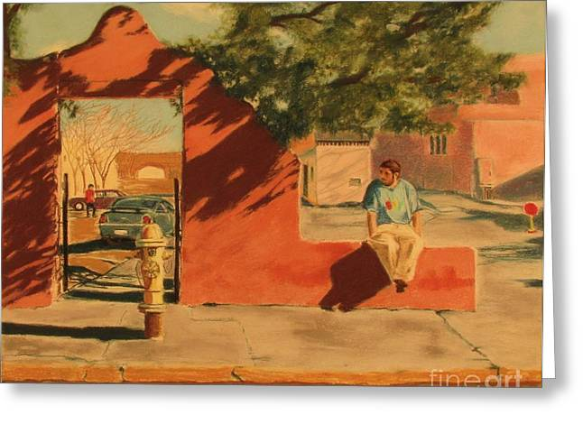 Santa Fe Sidewalk Greeting Card