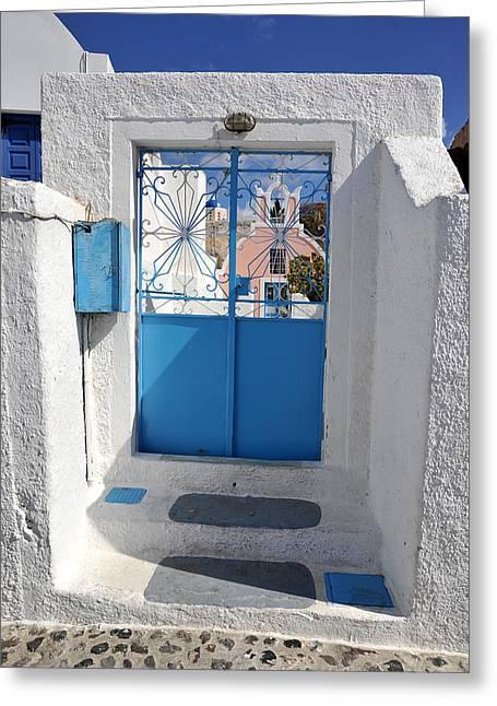 Santorini Greece Greeting Card by John Jacquemain