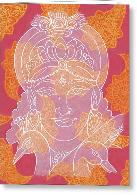Saraswati Greeting Card by Jennifer Mazzucco