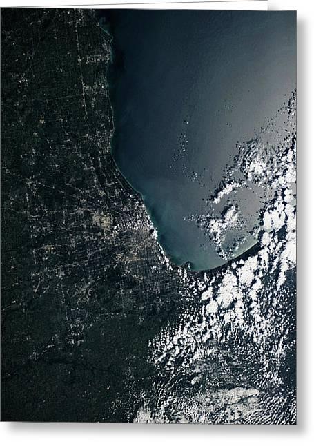Satellite View Of Lake Michigan Greeting Card