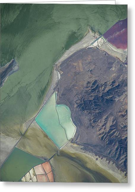 Satellite View Of Salt Evaporation Greeting Card