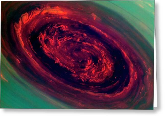 Saturn's North Polar Storm Greeting Card by Nasa