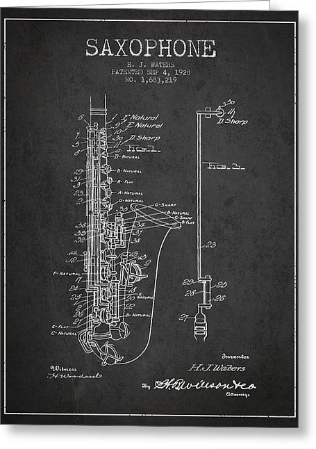 Saxophone Patent Drawing From 1928 Greeting Card