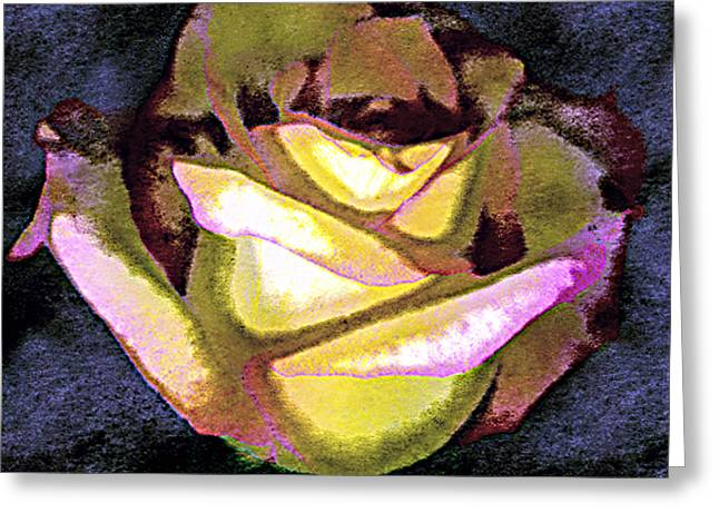 Scanned Rose Water Color Digital Photogram Greeting Card by Paul Shefferly