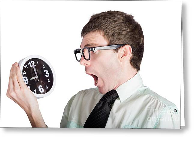 Scared Businessman With Clock Greeting Card