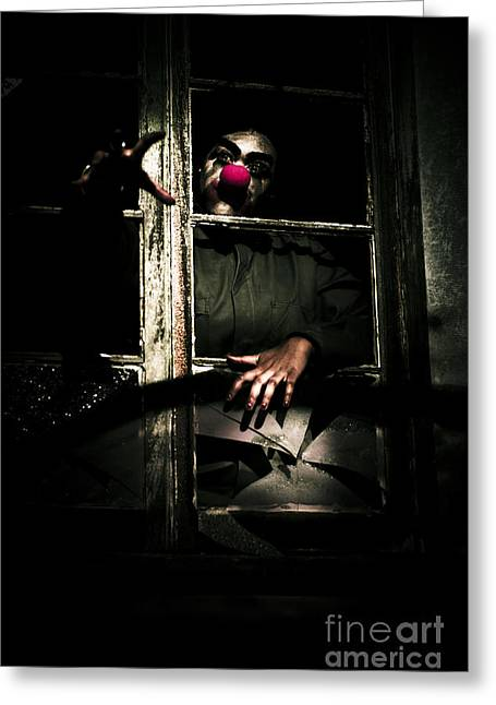 Scary Clown Clawing Window Greeting Card by Jorgo Photography - Wall Art Gallery
