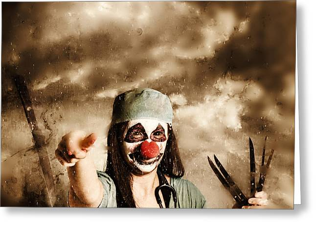 Scary Clown Doctor Throwing Knives Outdoors Greeting Card by Jorgo Photography - Wall Art Gallery