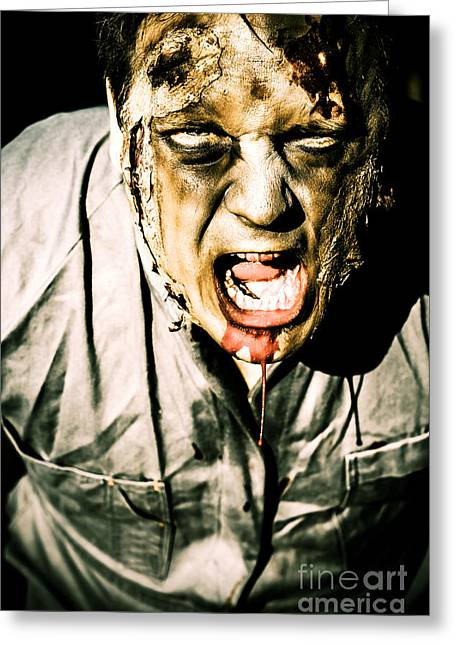 Scary Dark Horror Zombie Screaming Bloody Murder Greeting Card by Jorgo Photography - Wall Art Gallery