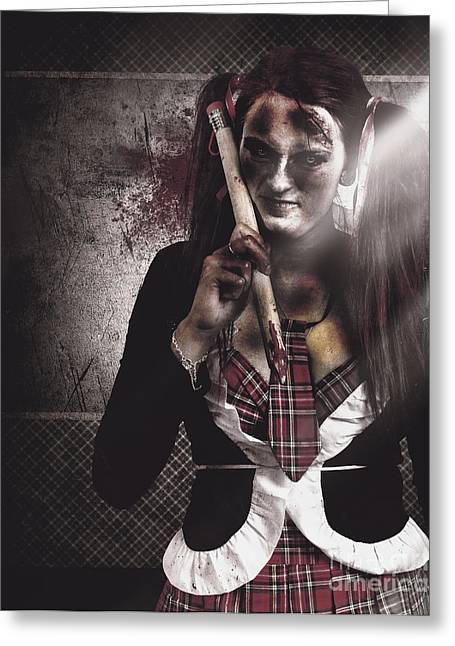 Scary Zombie School Student Holding Monster Pencil Greeting Card
