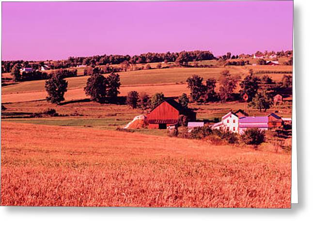 Scenic View Of A Farm, Amish Country Greeting Card by Panoramic Images