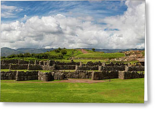 Scenic View Of Inca Archaeological Greeting Card by Panoramic Images
