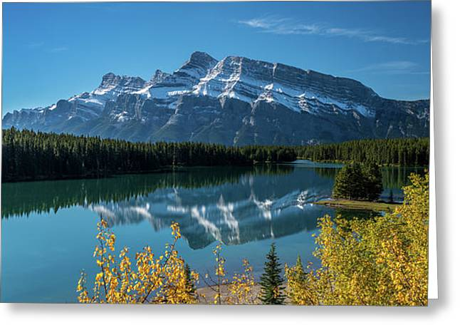 Scenic View Of Mount Rundle Reflected Greeting Card