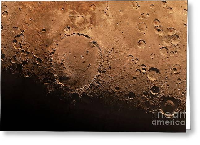 Schiaparelli Crater, Artwork Greeting Card
