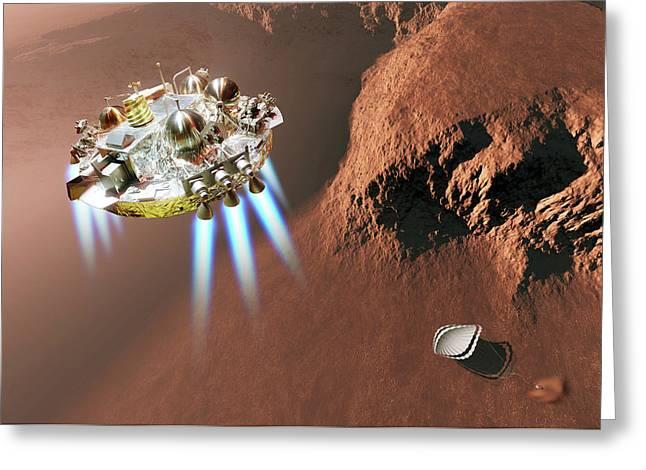 Schiaparelli Edm Lander At Mars Greeting Card by Detlev Van Ravenswaay