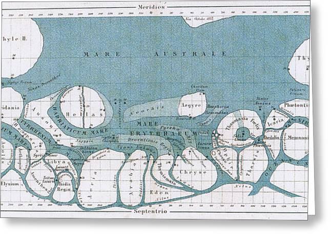 Schiaparelli Mars Map, 1877-78 Greeting Card
