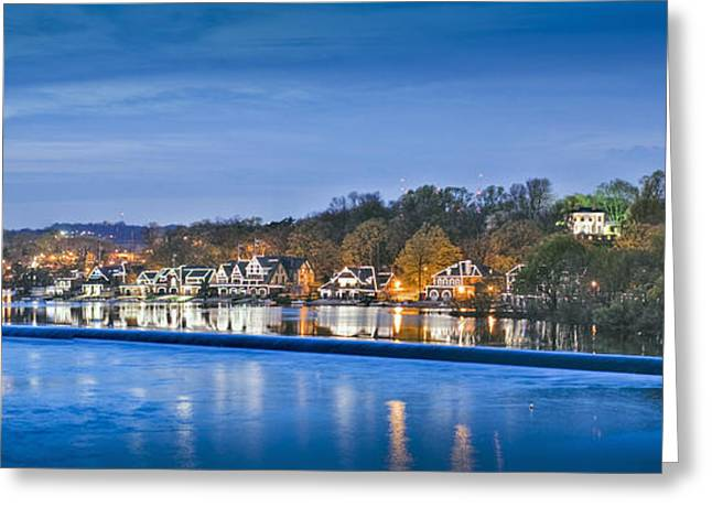 Schuylkill River  Boathouse Row Lit At Night  Greeting Card by David Zanzinger