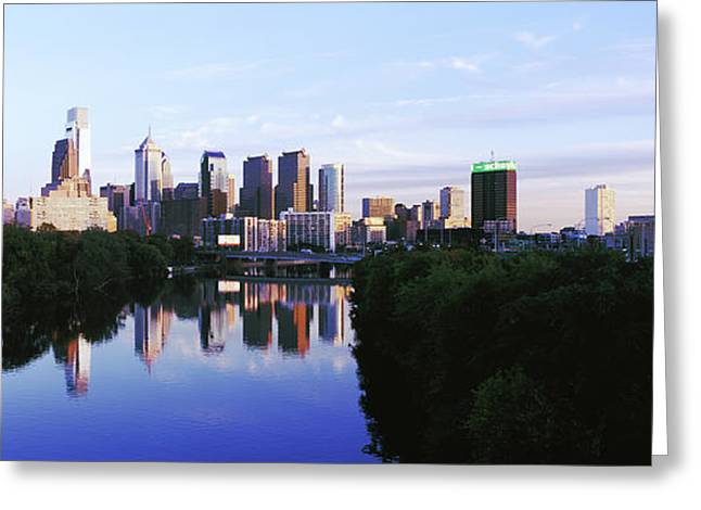 Schuylkill River With Skyscrapers Greeting Card
