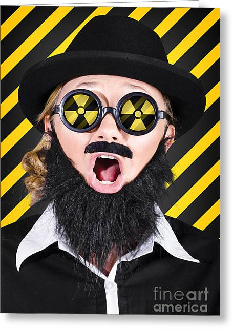Science Research Geek With Atomic Discovery Greeting Card