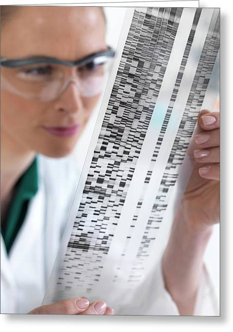 Scientist With Dna Results Greeting Card by Tek Image