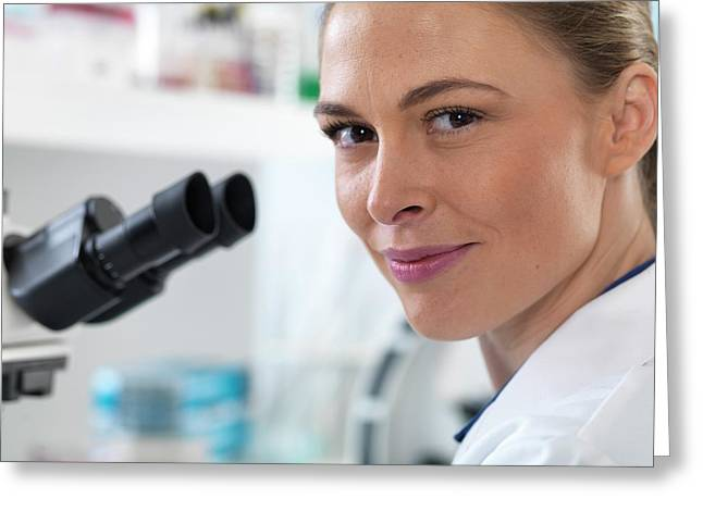 Scientist With Microscope Greeting Card by Tek Image