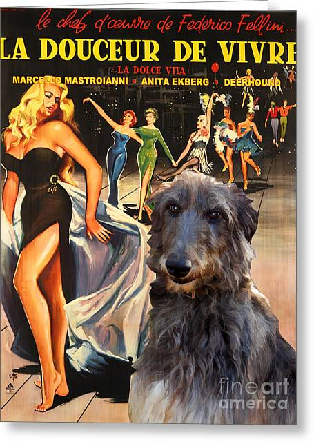 Scottish Deerhound Art - La Dolce Vita Movie Poster Greeting Card by Sandra Sij
