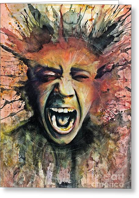 Scream Greeting Card by Michael Volpicelli
