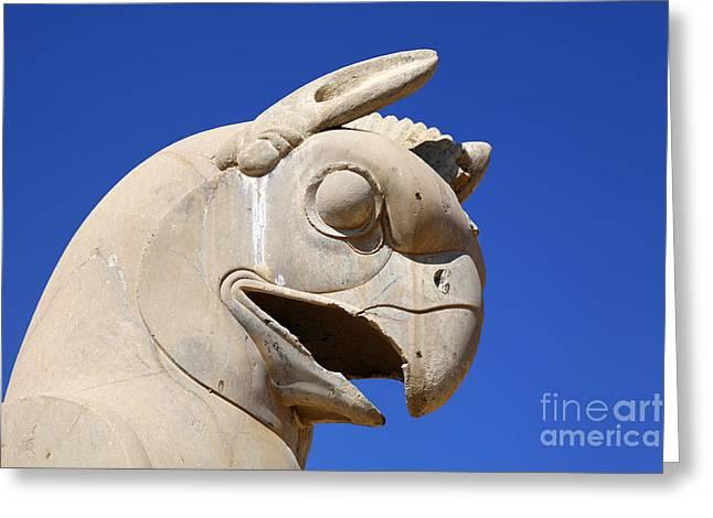 Sculpture Of A Homa Bird At Persepolis In Iran Greeting Card by Robert Preston