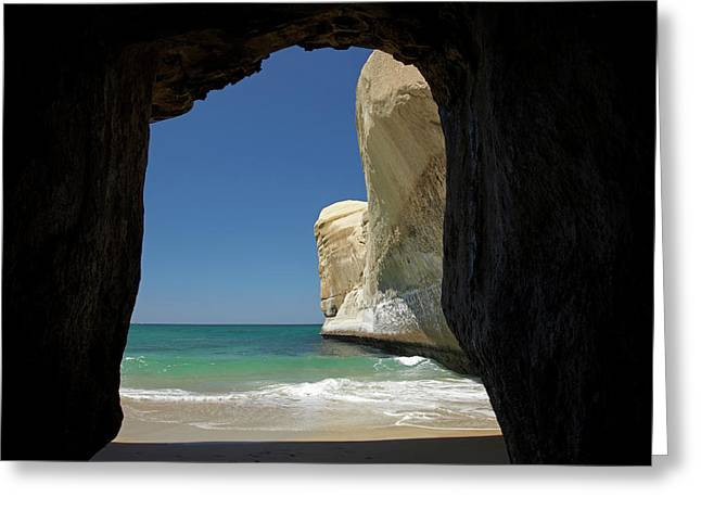Sea Cave, Beach And Cliffs, Tunnel Greeting Card by David Wall
