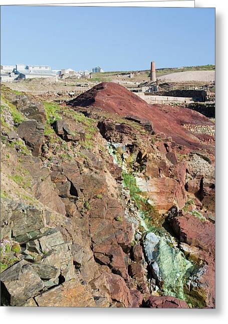 Sea Cliffs Stained Green From Copper Greeting Card by Ashley Cooper
