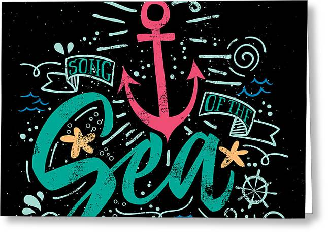 Sea Print T-shirts For Summer. Vector Greeting Card