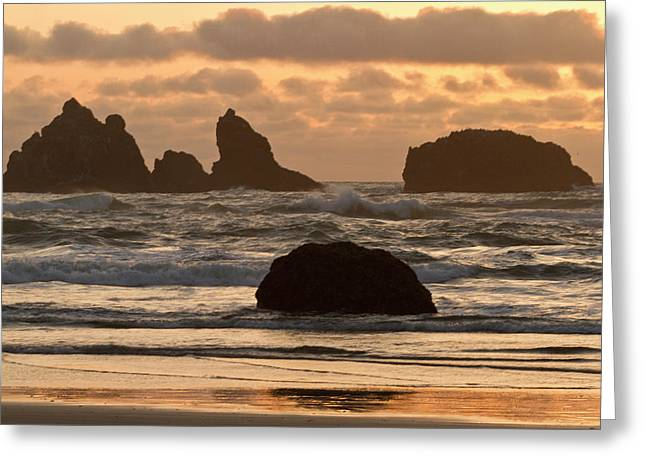Sea Stacks On The Beach At Bandon Greeting Card by William Sutton
