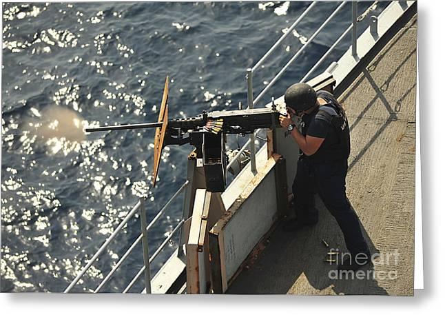 Seaman Fires A .50-caliber Machine Gun Greeting Card