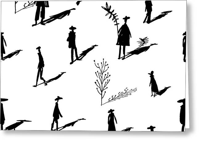 Seamless Pattern Of Trees And People Greeting Card