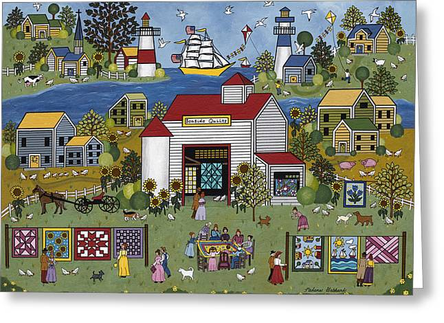 Seaside Quilts Greeting Card by Medana Gabbard