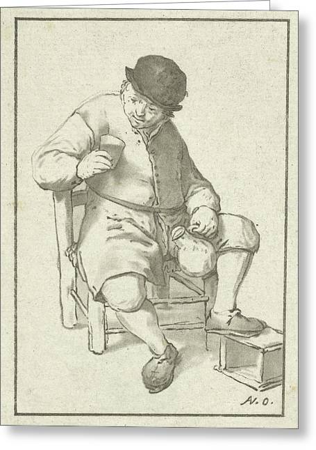 Seated Farmer With Pitcher, Cornelis Ploos Van Amstel Greeting Card by Cornelis Ploos Van Amstel