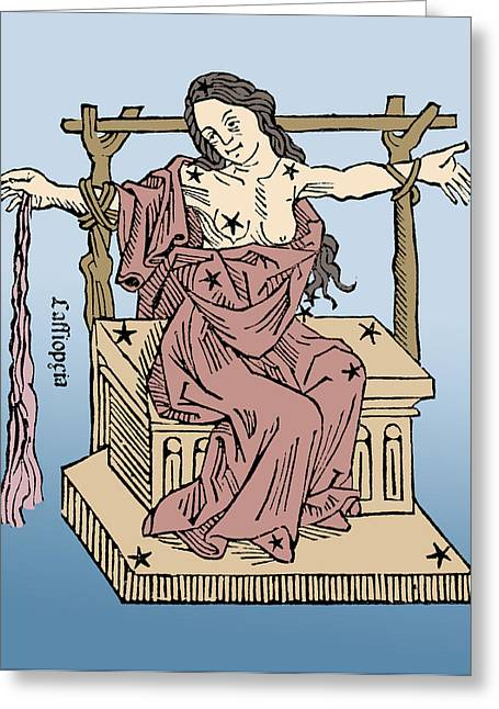 Seated Queen Of Cassiopeia Constellation Greeting Card